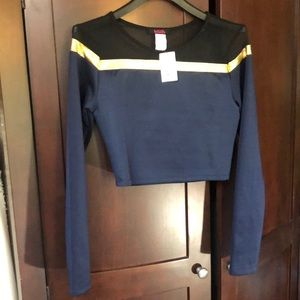 NWT! Blush Navy and Gold Crop Top!